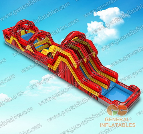 GO-175 Yellow and red marble obstacle course with pool