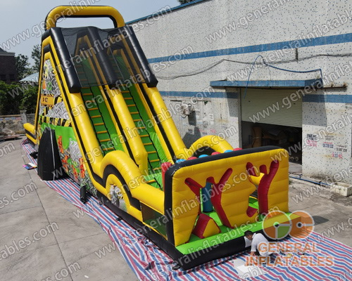 GS-268 Adult Toxic dual lane dry slide with obstacle course