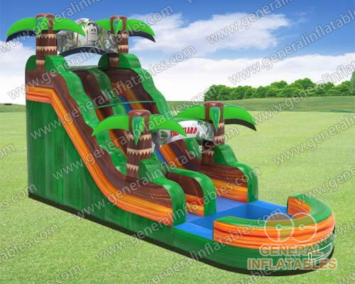 GWS-300 Inflatable tiki island water slide