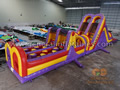 GO-173 Purple dual lane obstacle course with pool